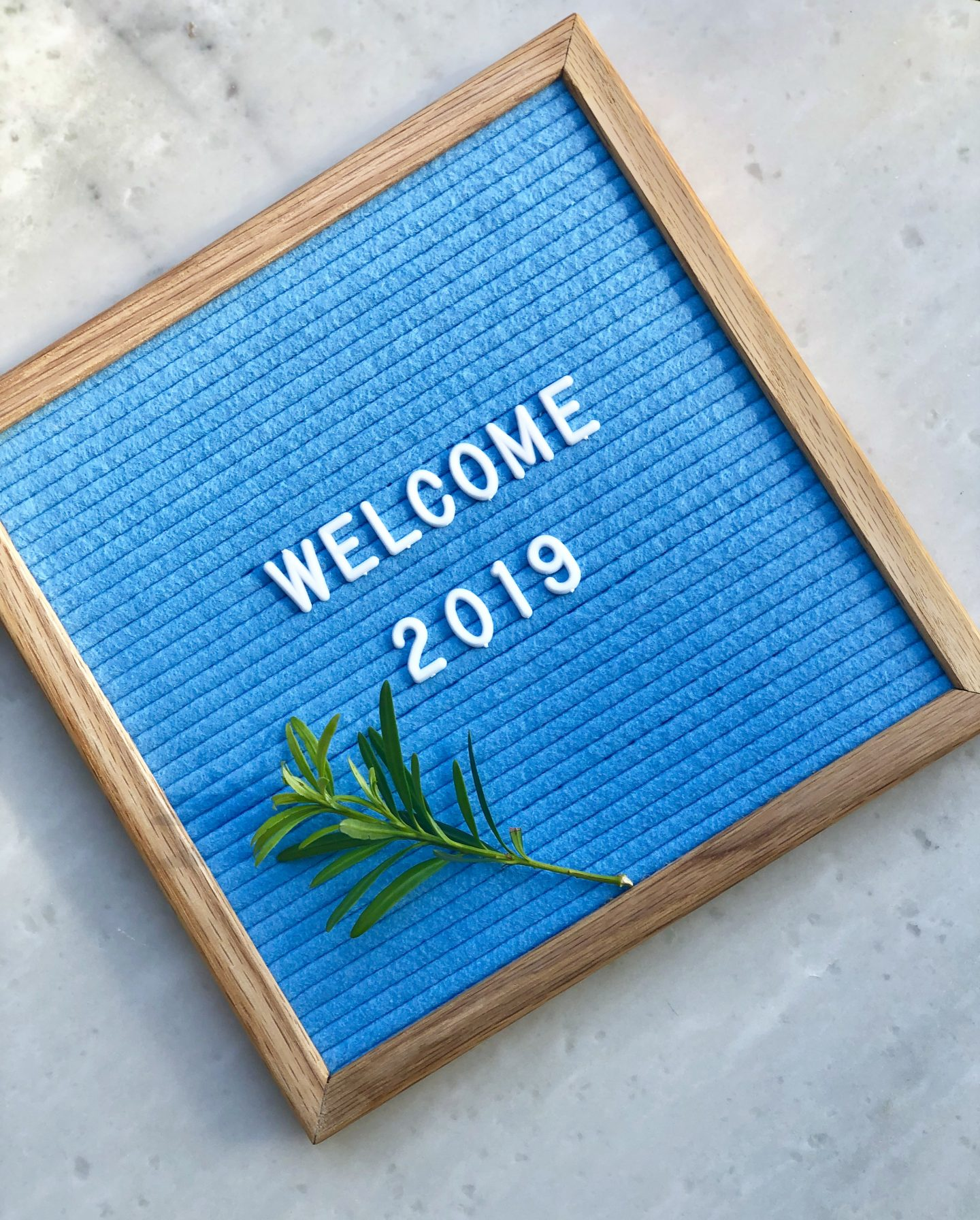 Welcome 2019 on letter board